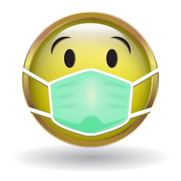 Желтый значок лица с маской для лица Premium векторы