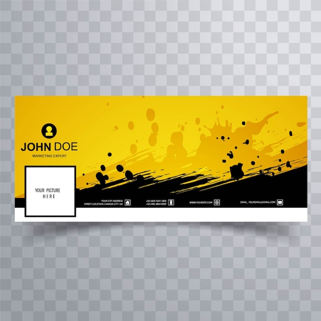 Yellow facebook banner for timeline Vector | Free Download