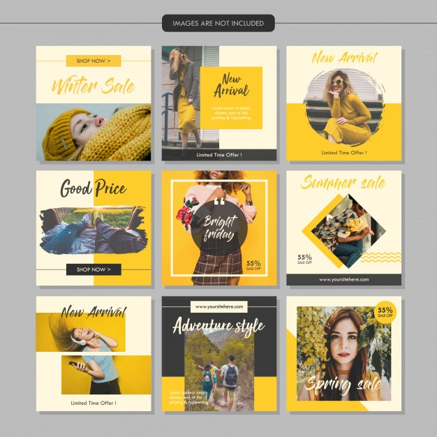 Yellow fashion social media post template Premium Vector