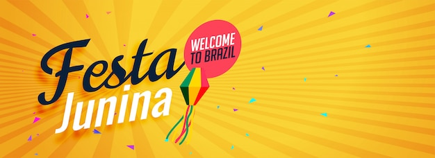 Yellow festa junina banner Free Vector