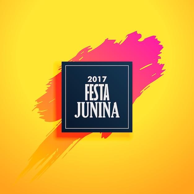 Yellow festa junina design with paint brush Free Vector