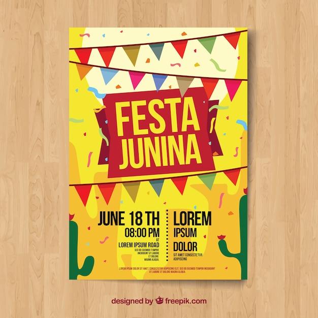 Yellow festa junina poster template Free Vector