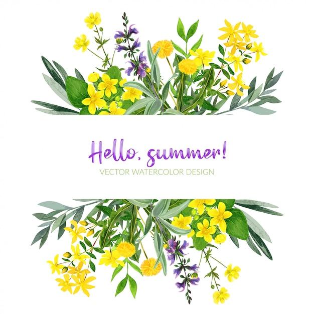 옐로우 필드 꽃, 수채화 스트라이프, 손으로 그린 프리미엄 벡터