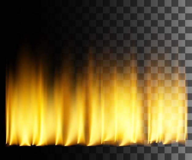 Желтый огонь абстрактный эффект на прозрачном фоне. Premium векторы