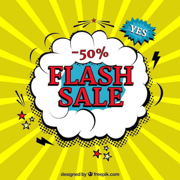 Yellow flash sale background in comic style Free Vector