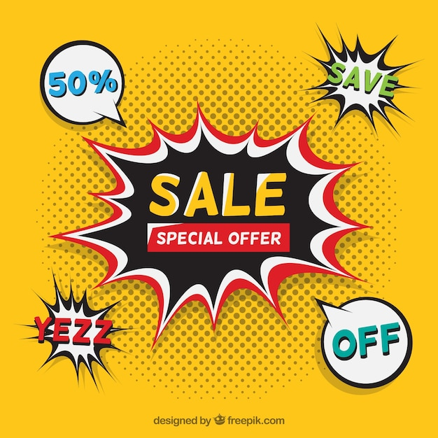 Yellow flash sale design in comic style Free Vector