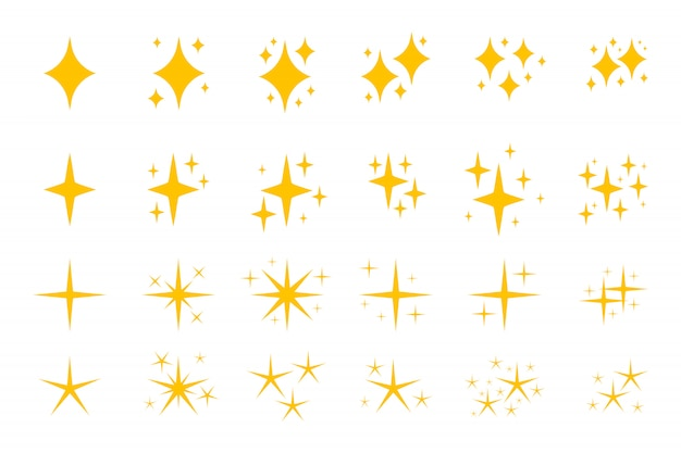 Yellow flat sparkles symbols icon set. Premium Vector