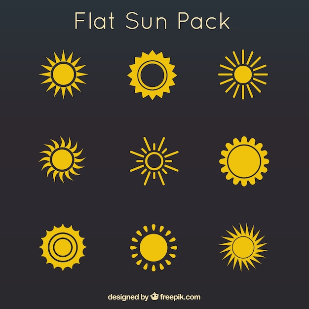 Yellow flat suns pack Free Vector