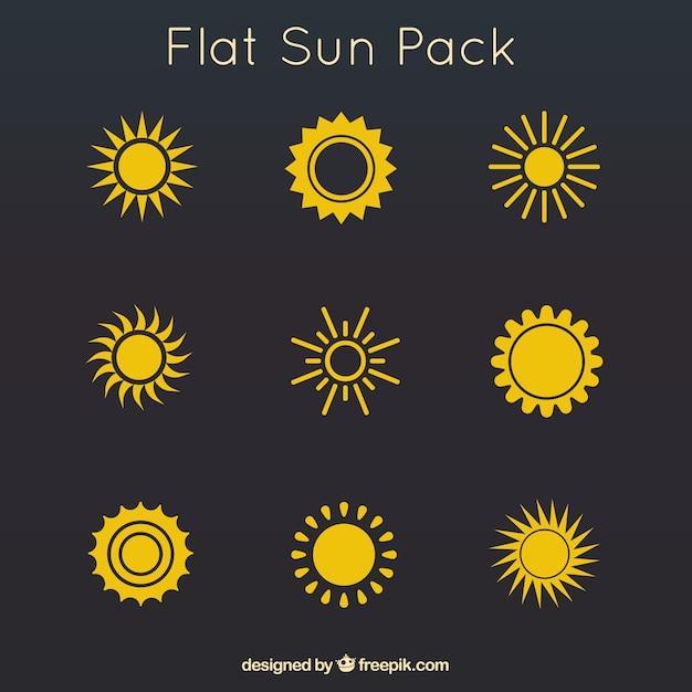Желтый плоский пакет солнц Бесплатные векторы