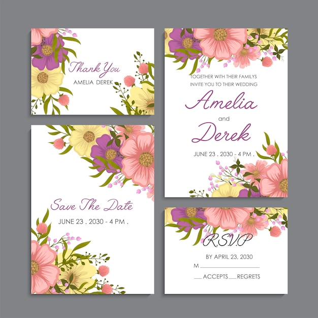 Yellow floral background wedding set Free Vector
