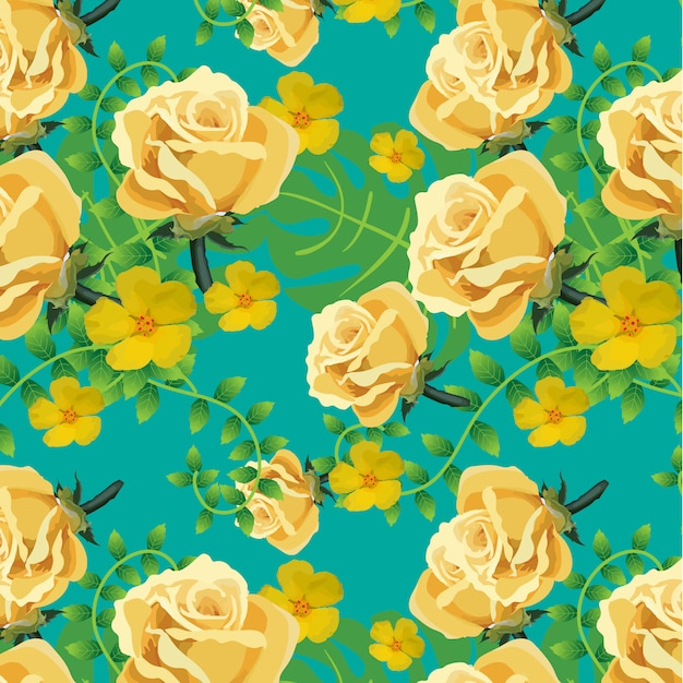 yellow floral pattern on blue background vector free