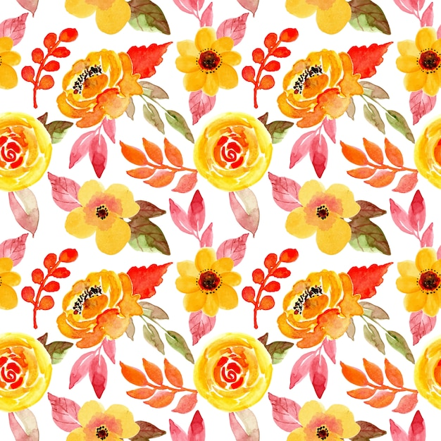Yellow floral watercolor seamless pattern Premium Vector