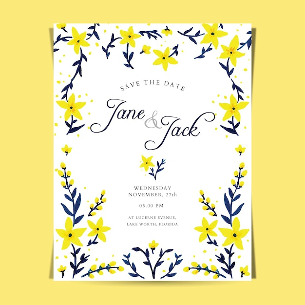 Yellow Floral Wedding Invitation Template Vector