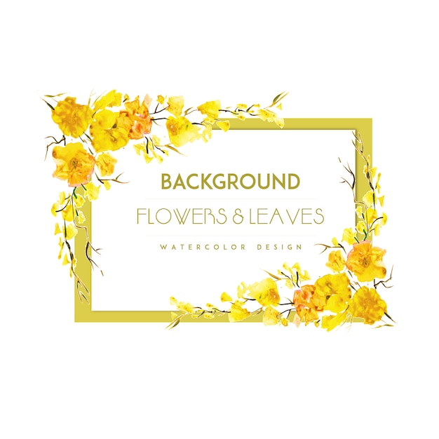 Yellow flower frame background