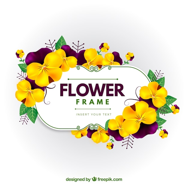 Yellow flower frame Free Vector