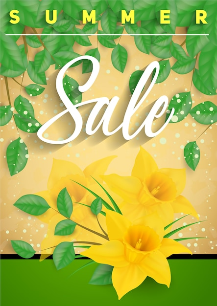 Yellow flower summer sale background