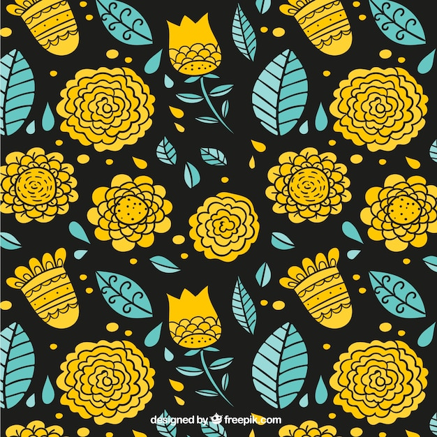 Yellow flowers and leaves sketches\ pattern