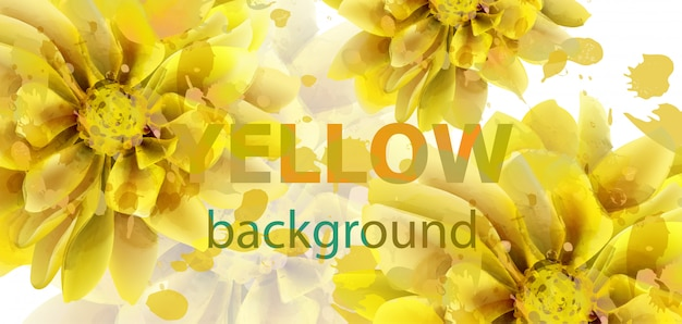 Yellow flowers autumn banner watercolor Premium Vector