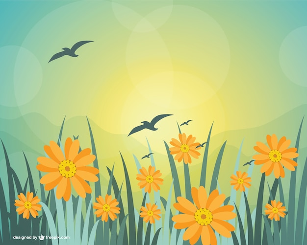 Yellow flowers in the grass with birds