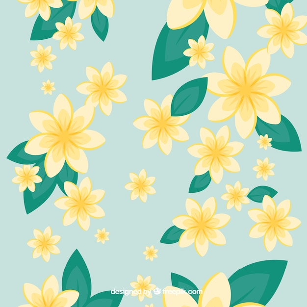 Yellow flowers over blue background