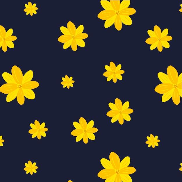Yellow flowers pattern on dark blue\ background
