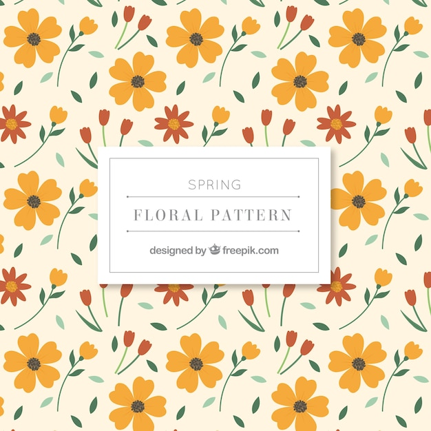Yellow flowers pattern with leaves