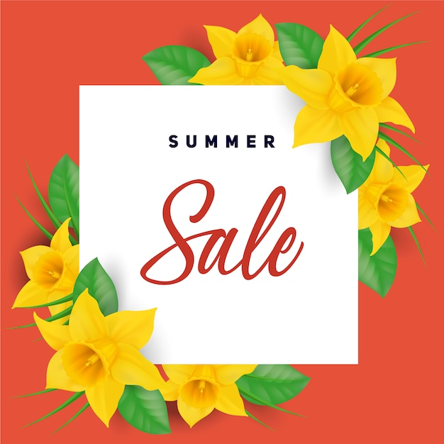 Yellow flowers summer sales background
