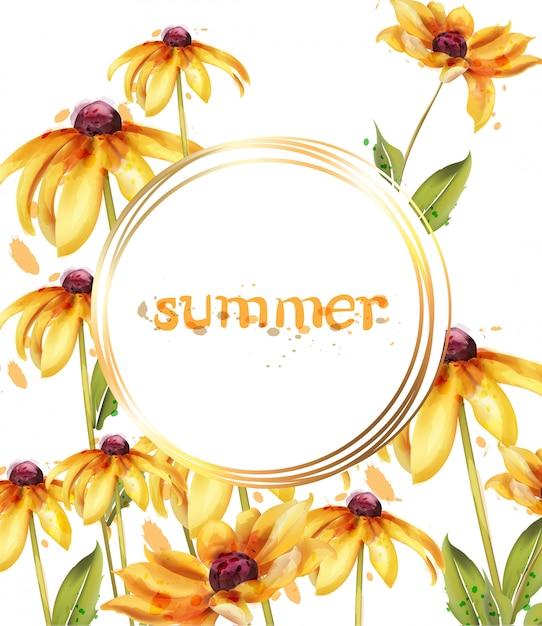 Yellow flowers watercolor frame Premium Vector