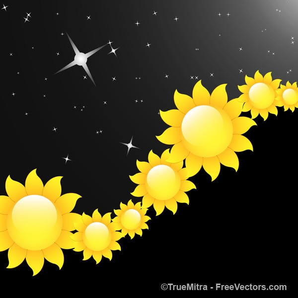 Yellow flowers with stars black\ background