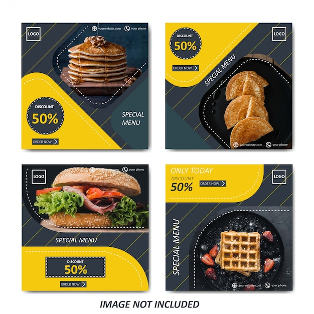 Yellow food and culinary sale template for social media post Premium Vector