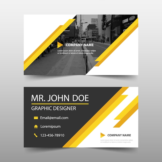 Yellow geometric corporate business card Free Vector