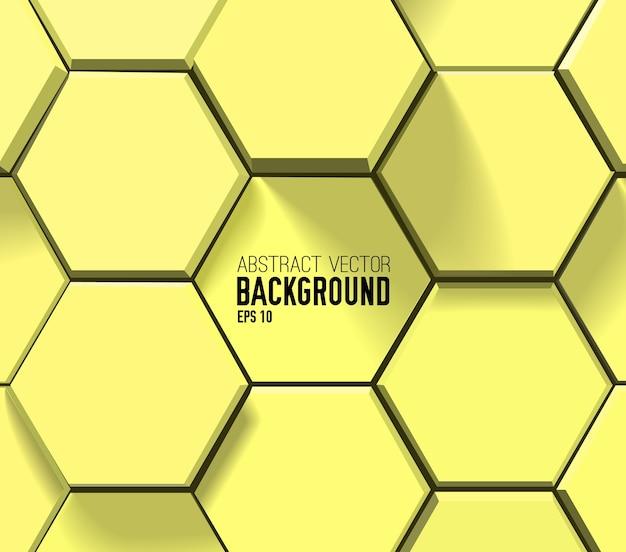 黄色の幾何学的な六角形のパターン 無料ベクター