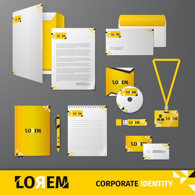 Yellow geometric technology business stationery template for corporate identity and branding set Premium Vector