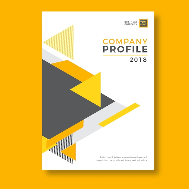 Yellow Geometry Abstract Company Profile Template Vector  Premium