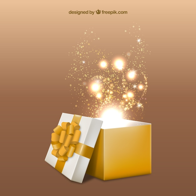 Yellow Giftbox Opened Free Vector