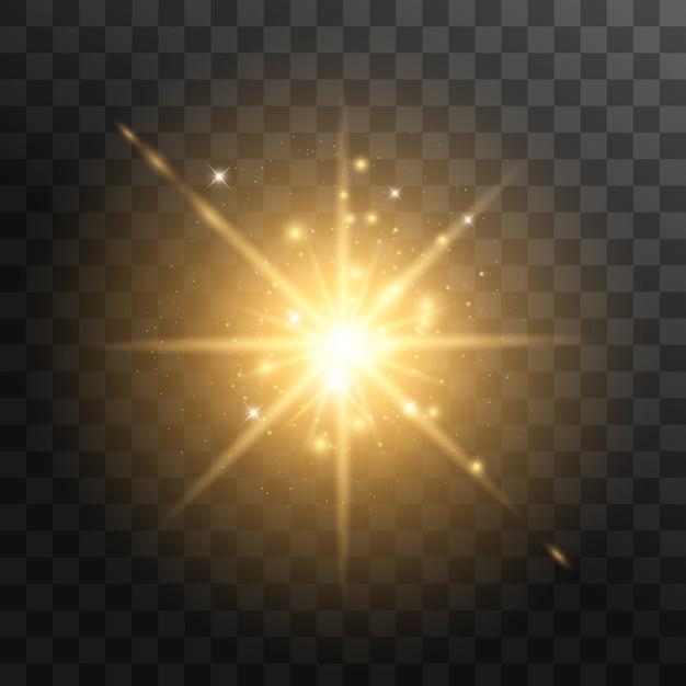 Желтый светящийся свет взрывается на прозрачном фоне. с лучом. прозрачное сияющее солнце, яркая вспышка Premium векторы