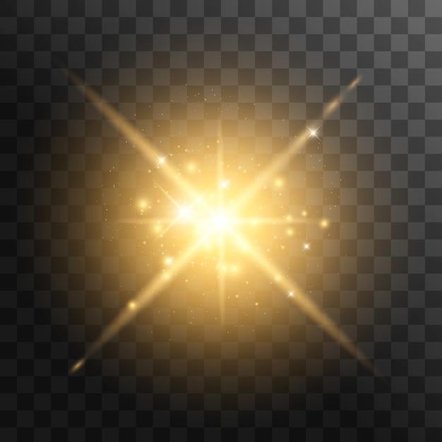 Желтый светящийся свет взрывается на прозрачном. с лучом. прозрачное сияющее солнце, яркая вспышка. Premium векторы