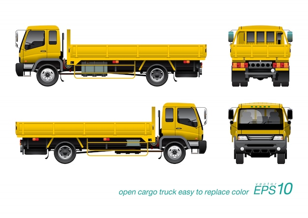 Yellow gondola truck Premium Vector