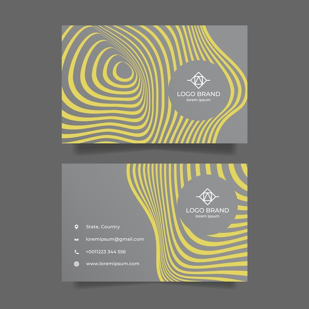 Yellow and gray abstract business card template Free Vector