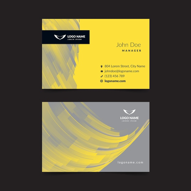 Yellow and gray abstract business card Free Vector