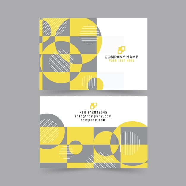 Yellow and gray abstract business cards template Free Vector