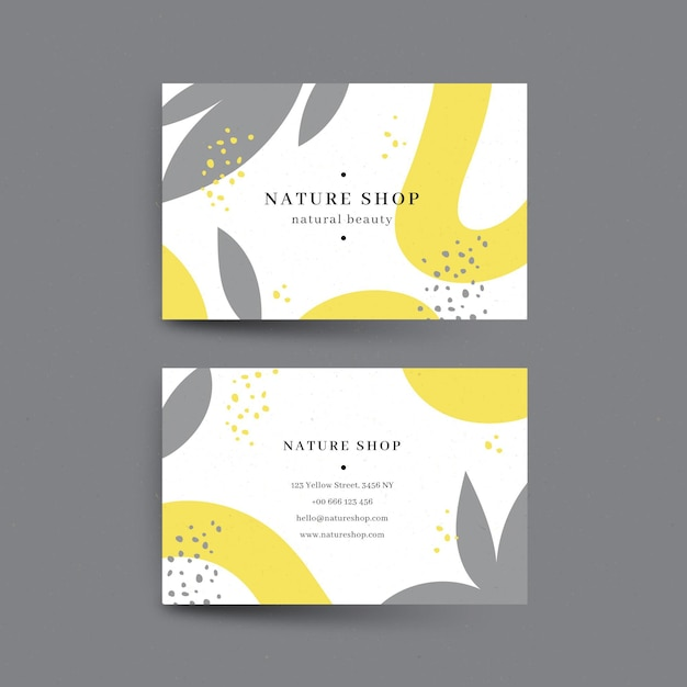 Yellow and gray abstract business cards Free Vector