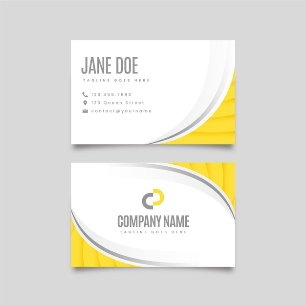 Yellow and gray abstract double-sided business cards Free Vector