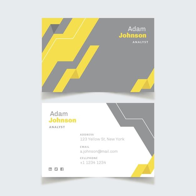 Modello di biglietto da visita giallo e grigio Vettore gratuito