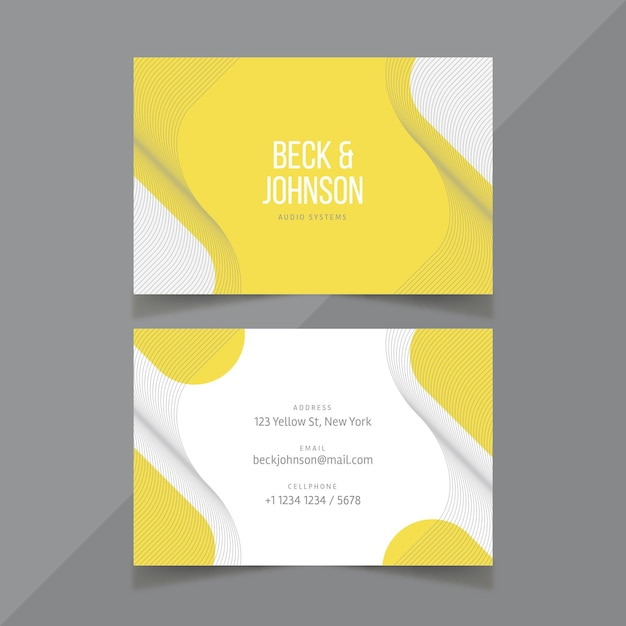 Yellow and gray business card template Free Vector