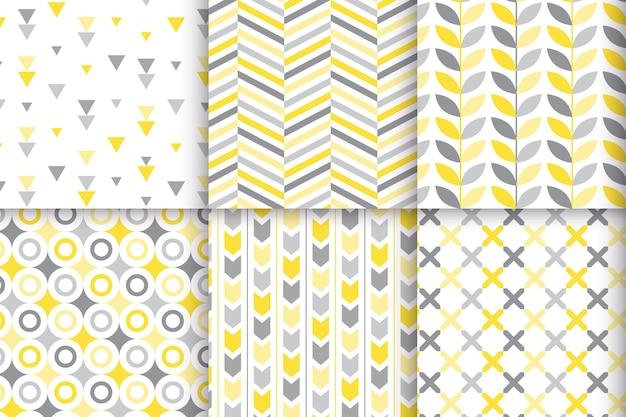 Collezione di motivi geometrici gialli e grigi Vettore gratuito