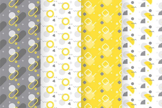 Yellow and gray geometric pattern collection Free Vector