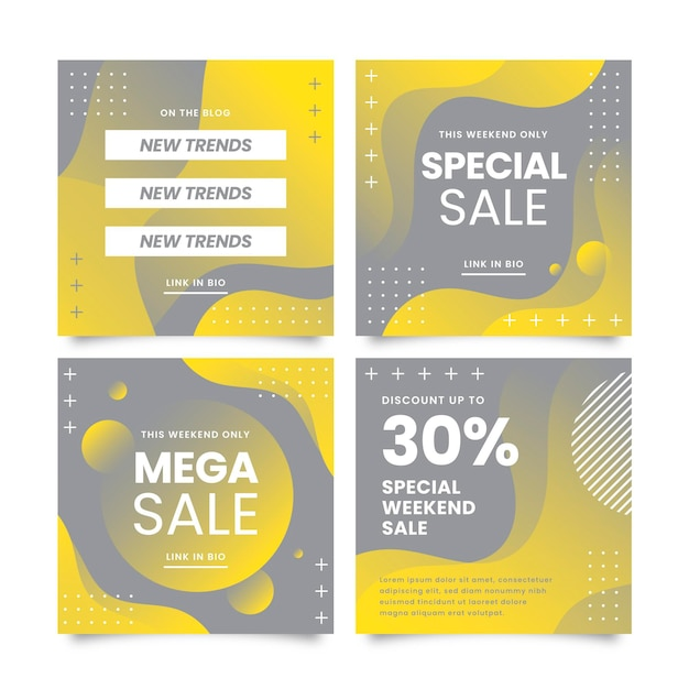 Tema post instagram giallo e grigio Vettore gratuito