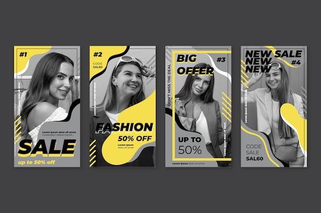 Yellow and gray instagram stories collection Free Vector