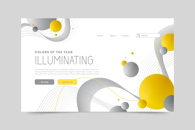 Design della pagina di destinazione giallo e grigio Vettore gratuito